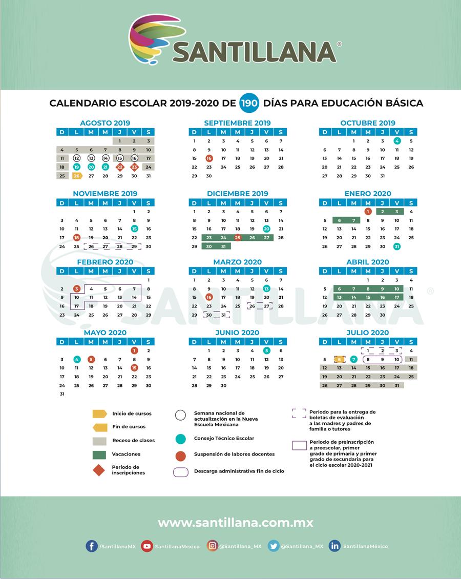 Calendario Escolar 2020 Colombia.Santillana